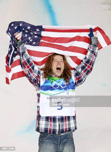 Shaun White of the United States reacts after winning the gold medal in the Snowboard Men's Halfpipe final on day six of the Vancouver 2010 Winter...