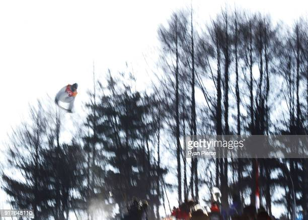 Shaun White of the United States rides during the Snowboard Men's Halfpipe Qualification on day four of the PyeongChang 2018 Winter Olympic Games at...
