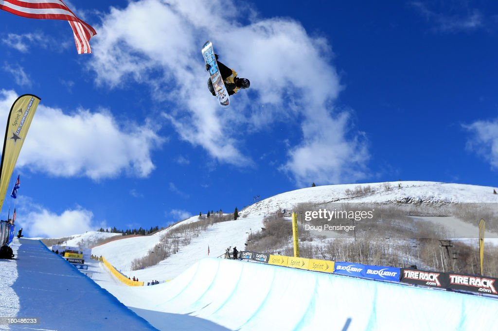 Shaun White of the USA takes a practice run before going on to win the FIS Snowboard Halfpipe World Cup at the Sprint U.S. Grand Prix at Park City Mountain on February 1, 2013 in Park City, Utah.