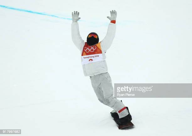 Shaun White of United States celebrates after a run during the Snowboard Men's Halfpipe Final on day five of the PyeongChang 2018 Winter Olympics at...