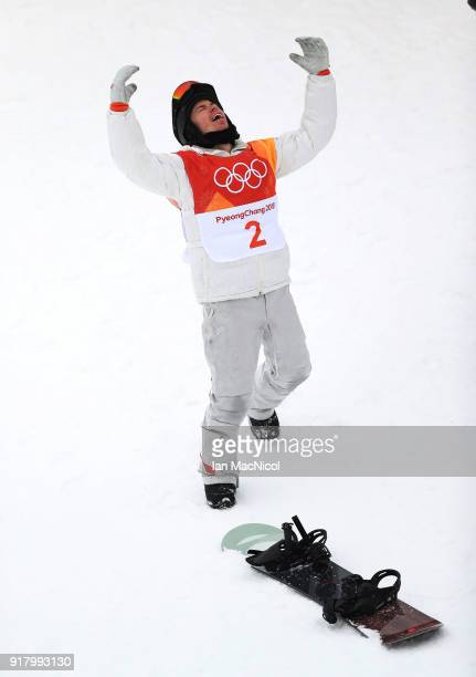 Shaun White of United States celebrates after winning the Men's Halfpipe Final at Phoenix Snow Park on February 14, 2018 in Pyeongchang-gun, South...