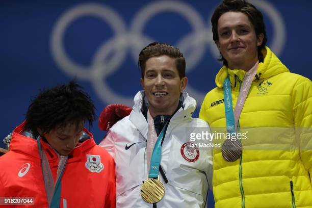 Shaun White of United States is seen after receiving his Gold Medal from the Men's Halfpipe Snowboard at Medal Plaza on February 14 2018 in...