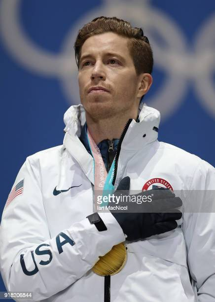 Shaun White of United States is seen prior to receiving his Gold Medal from the Men's Halfpipe Snowboard at Medal Plaza on February 14 2018 in...