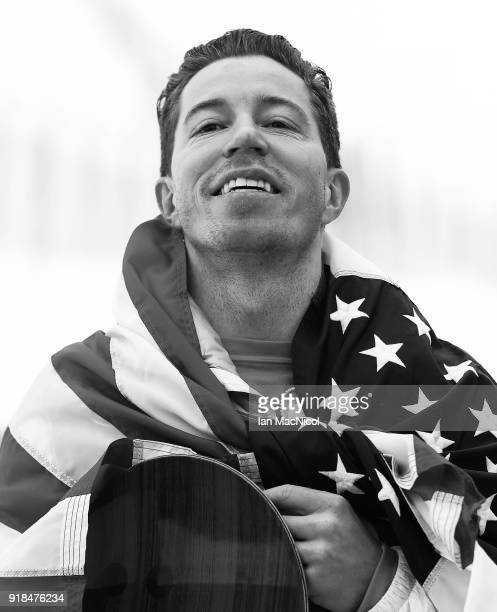Shaun White of United States reacts after winning the Men's Halfpipe Final at Phoenix Snow Park on February 14, 2018 in Pyeongchang-gun, South Korea.