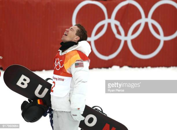 Shaun White of United States reacts during the Snowboard Men's Halfpipe Final on day five of the PyeongChang 2018 Winter Olympics at Phoenix Snow...