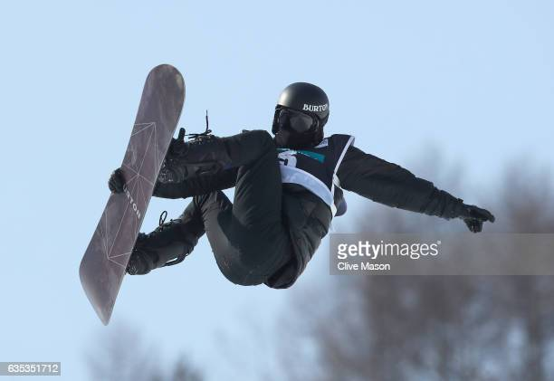 Shaun White of USA rides during a training session for the FIS Freestyle World Cup 2016/17 Snowboard Halfpipe at Bokwang Snow Park on February 15...