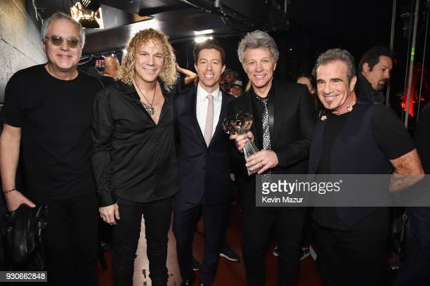 Shaun White poses with honorees Hugh McDonald David Bryan Jon Bon Jovi and Tico Torres of Bon Jovi recipients of the Icon Award backstage during the...