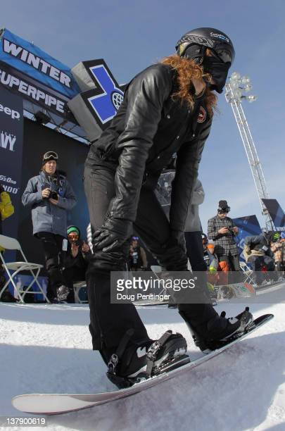 Shaun White prepares to take a run during practice for the men's snowboard superpipe elimination during Winter X Games 2012 at Buttermilk Mountain on...