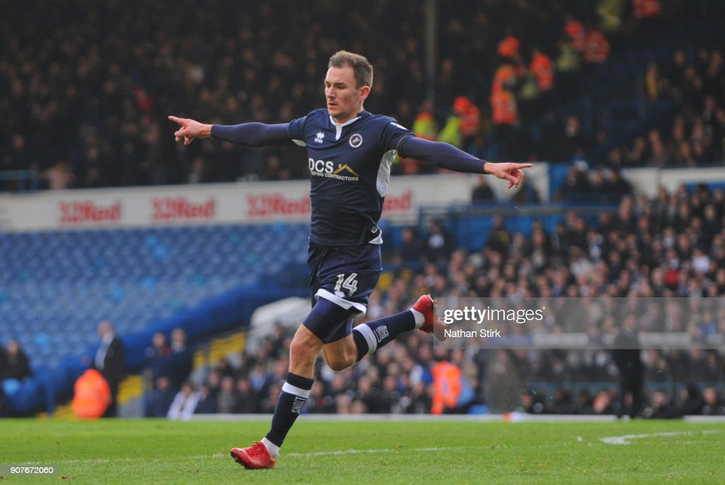 Shaun Williams of Millwall celebrates after he scores the first goal but it is disallowed during the Sky Bet Championship match between Leeds United and Millwall at Elland Road on January 20, 2018 in Leeds, England.