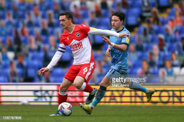 Shaun Williams of Millwall in action with Callum O'Hare of Coventry City during the Sky Bet Championship match between Coventry City and Millwall at...