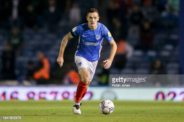 Shaun Williams of Portsmouth FC during the Sky Bet League One match between Portsmouth and Plymouth Argyle at Fratton Park on September 21, 2021 in...