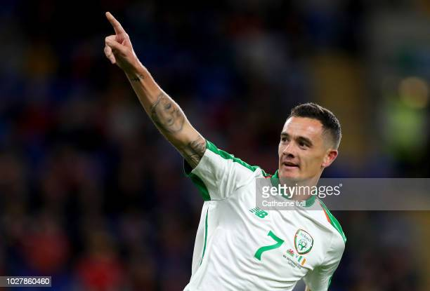 Shaun Williams of Republic of Ireland celebrates after scoring his team's first goal during the UEFA Nations League B group four match between Wales...