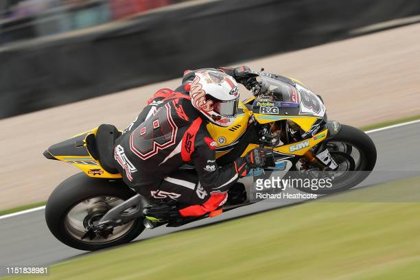 Shaun Winfield in action during the Bennetts British Superbike Championship at Donington Park on May 26, 2019 in Castle Donington, England.