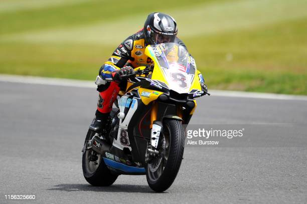 Shaun Winfield of Great Britain in action during Race One of the British Superbike Championship at Brands Hatch on June 16, 2019 in Longfield,...