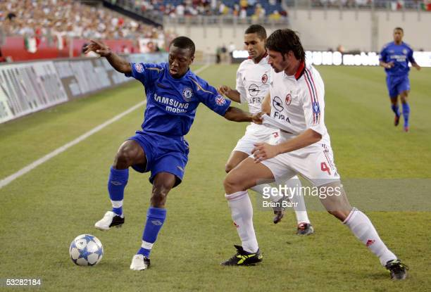 Shaun Wright Phillips of Chelsea FC works the ball out of the corner against Kakha Kaladze of AC Milan during their World Series of Football friendly...