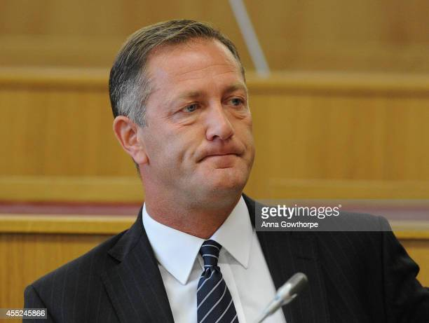 Shaun Wright Police and Crime Commissioner of South Yorkshire attends a South Yorkshire Police and Crime Panel meeting at Rotherham Town Hall on...
