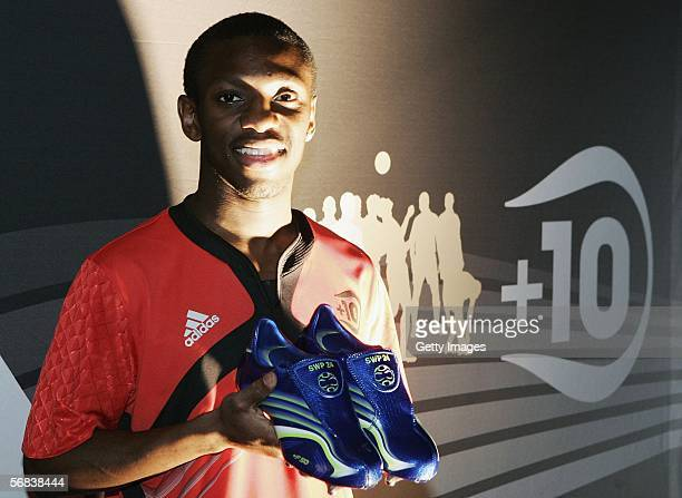 Shaun WrightPhilipps presents his new shoes during the Major adidias F50 Tunit Launch Event on February 13 2006 in Munich Germany