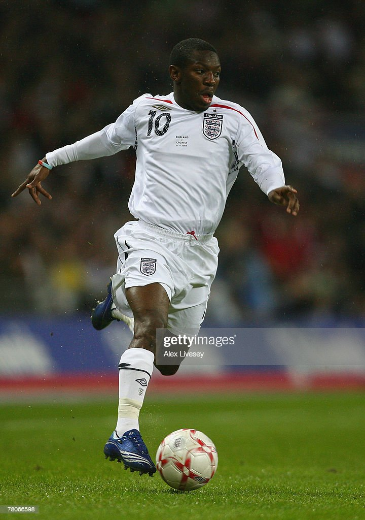 Shaun Wright-Phillips of England in action during the Euro 2008 Group E qualifying match between England and Croatia at Wembley Stadium on November 21, 2007 in London, England.