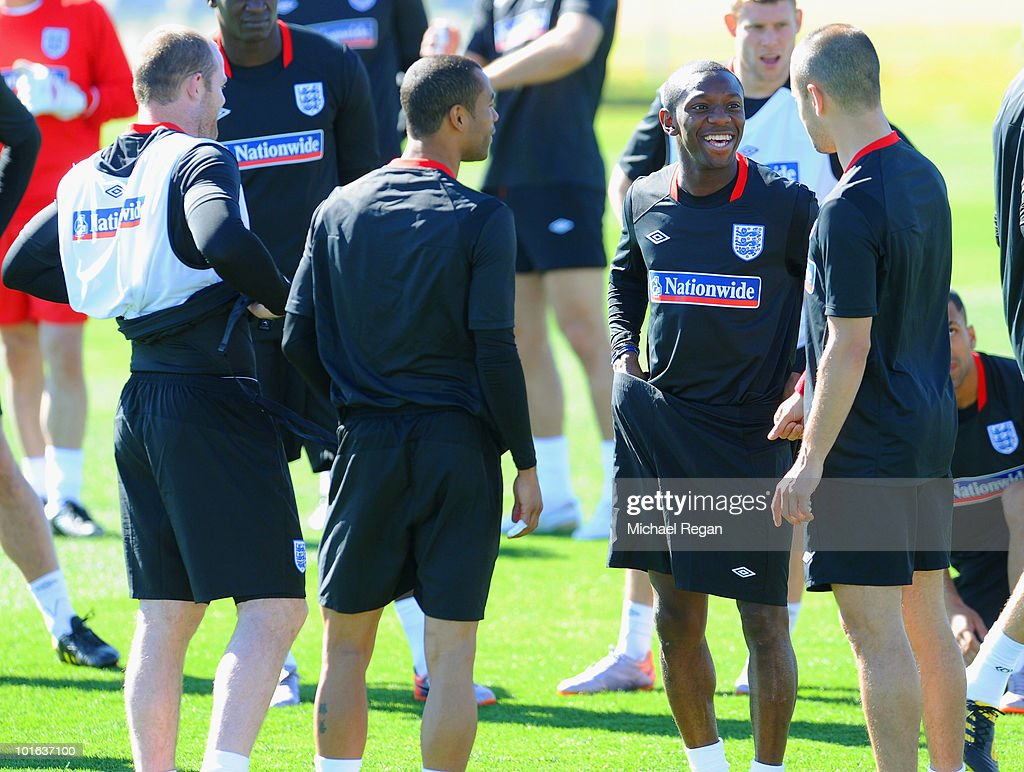Shaun Wright-Phillips shares a joke with team mates during the England training session at the Royal Bafokeng Sports Campus on June 5, 2010 in Rustenburg, South Africa.