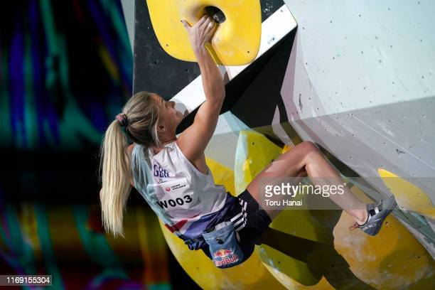 Shauna Coxsey of Great Britain competes in the Bouldering during Combined Women's Final on day ten of the IFSC Climbing World Championships at the...