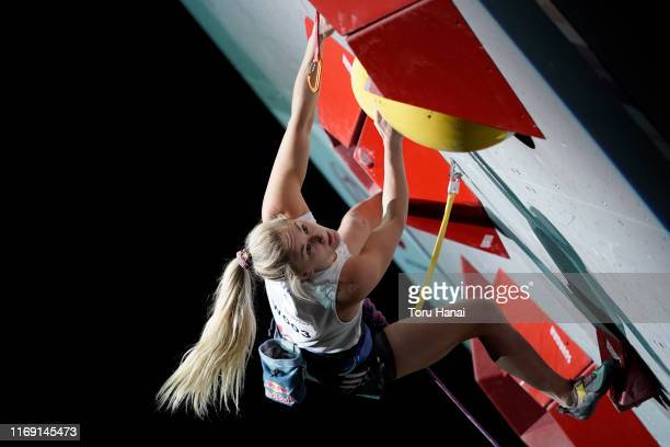 Shauna Coxsey of Great Britain competes in the Lead during Combined Women's Final on day ten of the IFSC Climbing World Championships at the Esforta...