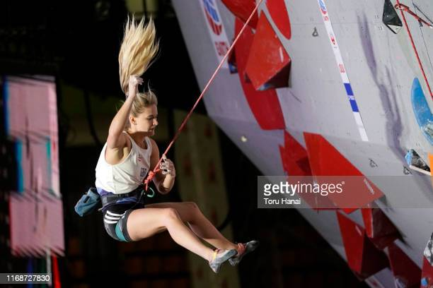 Shauna Coxsey of Great Britain competes in the Women Lead event during Combined Women's Qualification on day eight of the IFSC Climbing World...