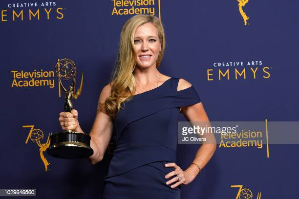 Shauna Duggins winner of the award for outstanding stunt coordination for a comedy series or variety program for 'Glow' poses in the press room...