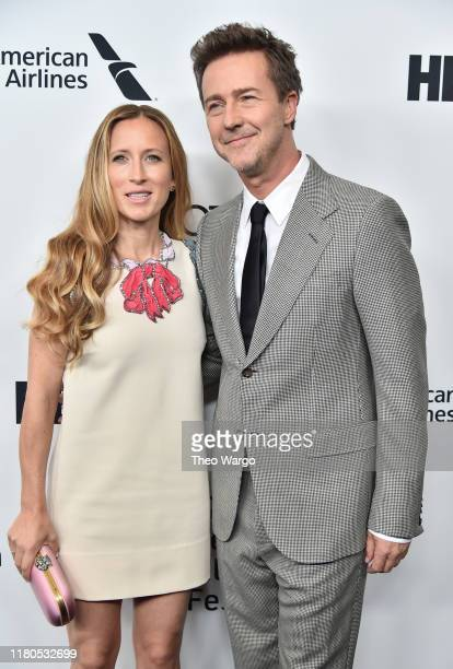 Shauna Robertson and director/actor Edward Norton attend the Motherless Brooklyn Arrivals during the 57th New York Film Festival on October 11 2019...