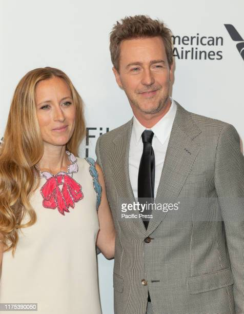 Shauna Robertson and Edward Norton attend Motherless Brooklyn premiere during 57th New York Film Festival at Alice Tully Hall