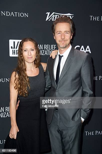 Shauna Robertson and Edward Norton attend the 6th Annual Sean Penn Friends HAITI RISING Gala Benefitting J/P Haitian Relief Organization at Montage...