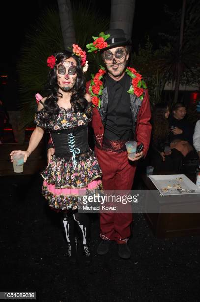 Shauna Robertson and Edward Norton attend the Casamigos Halloween Party on October 26 2018 in Beverly Hills California