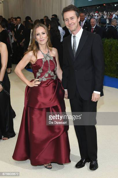 Shauna Robertson and Edward Norton attend the Rei Kawakubo/Comme des Garcons Art Of The InBetween Costume Institute Gala at Metropolitan Museum of...