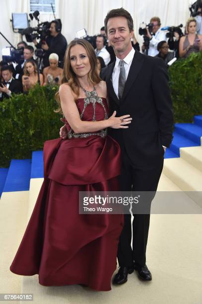 Shauna Robertson and Edward Norton attend the 'Rei Kawakubo/Comme des Garcons Art Of The InBetween' Costume Institute Gala at Metropolitan Museum of...