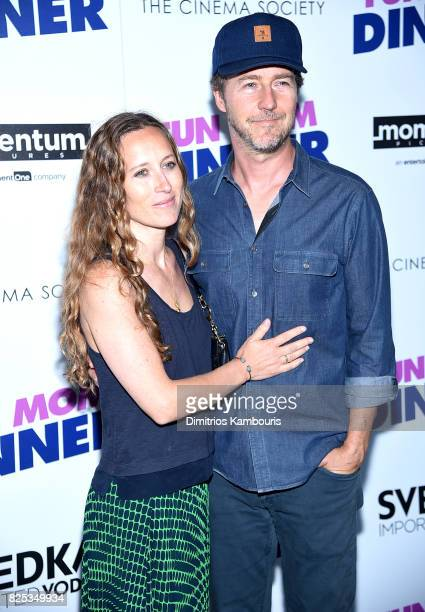 "Shauna Robertson and Edward Norton attend the screening Of ""Fun Mom Dinner"" at Landmark Sunshine Cinema on August 1, 2017 in New York City."