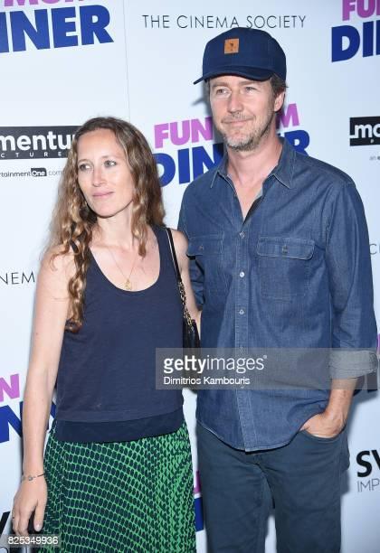 Shauna Robertson and Edward Norton attend the screening Of Fun Mom Dinner at Landmark Sunshine Cinema on August 1 2017 in New York City