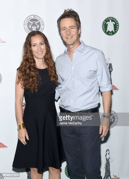Shauna Robertson and Edward Norton attend The Turtle Conservancy's Fourth Annual Turtle Ballat The Bowery Hotel on April 17 2017 in New York City