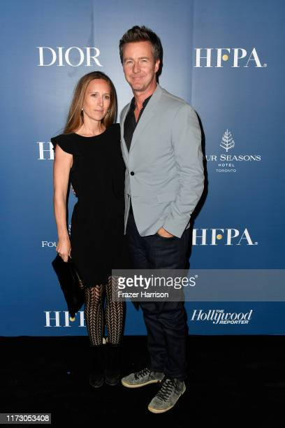 Shauna Robertson and Edward Norton attends the HFPA/THR TIFF PARTY during the 2019 Toronto International Film Festival at Four Seasons Hotel on...