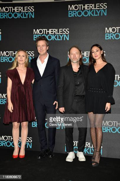 "Shauna Robertson, Edward Norton, Thom Yorke and Dajana Roncione attend the ""Motherless Brooklyn"" Q&A and jazz performance at Jack Solomons Club on..."