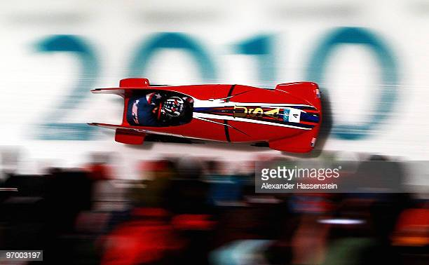 Shauna Rohbock and Michelle Rzepka of the United States compete in United States 1 during the Women's Bobsleigh on day 12 of the 2010 Vancouver...