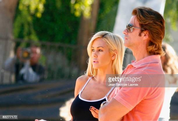 Shauna Sand and Lorenzo Lamas visit a pumpkin patch on October 13 2008 in West Hollywood California