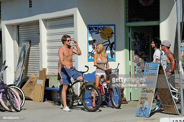 Shauna Sand is seen riding her bicycle on September 03 2012 in Los Angeles California