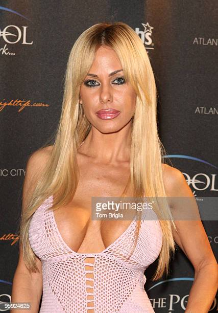Shauna Sand Lamas stops on the red carpet while visiting The Pool in Harrah's Resort on Saturday night January 30 2010 in Atlantic City New Jersey