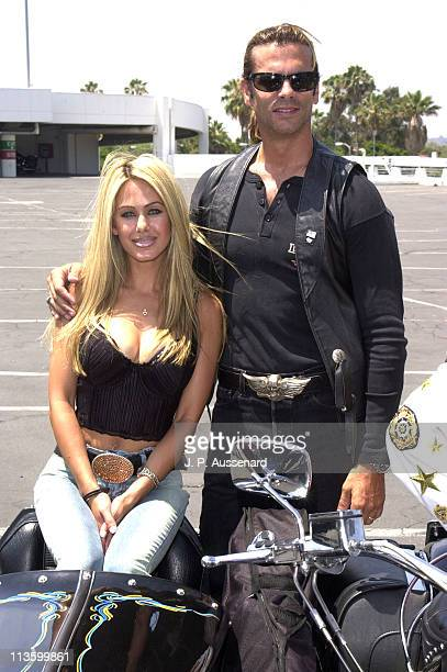Shauna Sand Lorenzo Lamas during Indian Motorcycles Centennial Ride at Petersen Automobile Museum in Los Angeles California United States