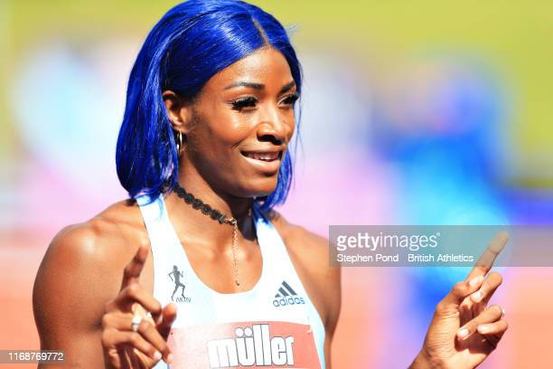 Shaunae Miller-Uibo of Bahamas celebrates winning in the Womens 200m during the Muller Birmingham Grand Prix & IAAF Diamond League event at Alexander...