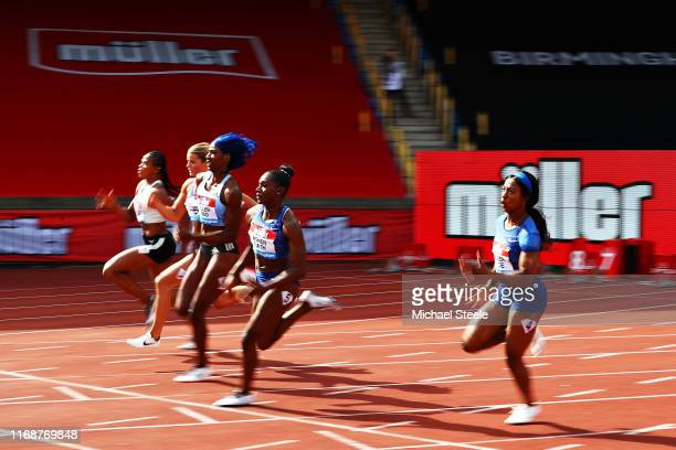 Shaunae Miller-Uibo of Bahamas, Dina Asher-Smith of Great Britain and Shelly-Ann Fraser-Pryce of Jamaica compete in the Womens 200m during the Muller...
