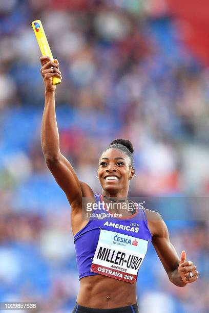 Shaunae Miller-Uibo of Team Americas celebrates victory following the Mixed 4x400 Metre Relay during day two of the IAAF Continental Cup at Mestsky...
