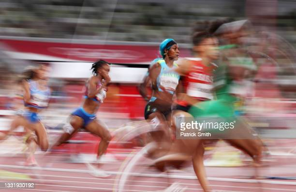 Shaunae Miller-Uibo of Team Bahamas competes in the Women's 200 metres Semi Final 3 on day ten of the Tokyo 2020 Olympic Games at Olympic Stadium on...