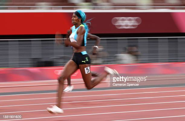 Shaunae Miller-Uibo of Team Bahamas competes in the Women's 200 metres Semi Finals on day ten of the Tokyo 2020 Olympic Games at Olympic Stadium on...