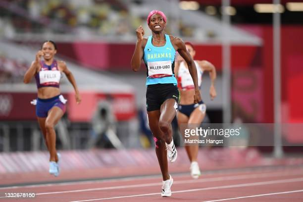 Shaunae Miller-Uibo of Team Bahamas competes in the Women's 400 metres final on day fourteen of the Tokyo 2020 Olympic Games at Olympic Stadium on...