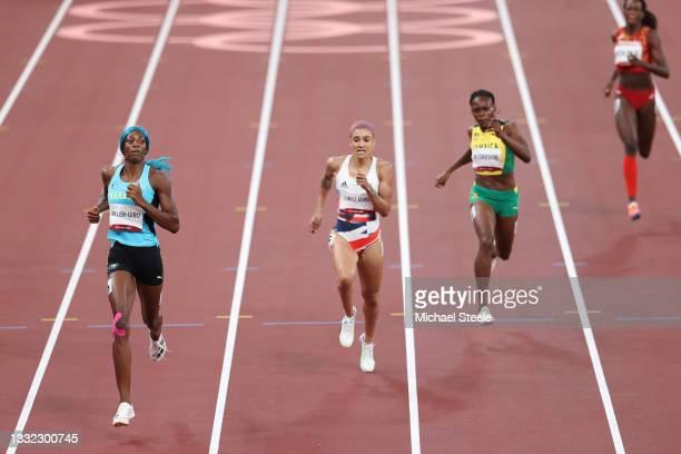 Shaunae Miller-Uibo of Team Bahamas, Jodie Williams of Team Great Britain and Roneisha McGregor of Team Jamaica compete in the Women's 400m Semi...